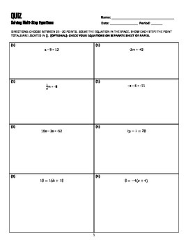 Solve Equation Assesment