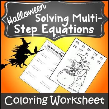 Halloween Algebra Solve Equations {Algebra 1 and 2 Halloween Coloring Activity}