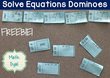 Solve Equations Dominoes