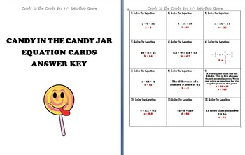 Solving One-Step Equations: Addition and Subtraction Game/Math Center