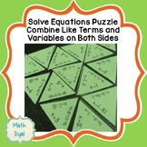 Variables on Both Sides and Combine Like Terms Equations Puzzle