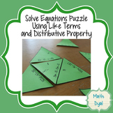 Solve Equations Puzzle Using Distributive Property and Combining Like Terms