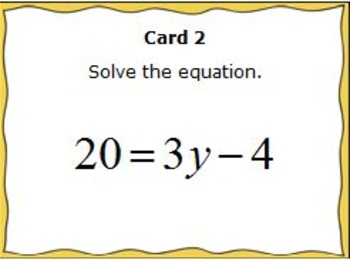 Solve Equations Task Cards