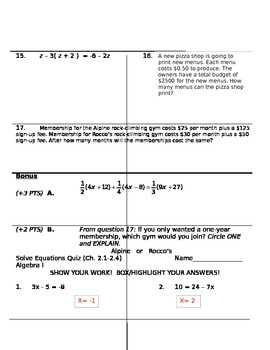 Solve Equations Test
