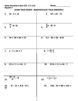 Solve Equations Test