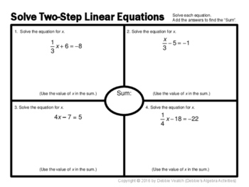 Solve Two-Step Equations Placemat Activity