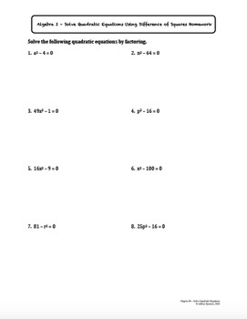 Solve Quadratic Equations Using Difference of Squares (Lesson with Homework)