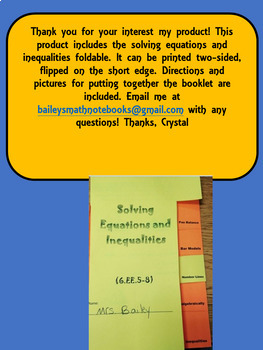 Solve Equations and Graphing Inequalities Foldable for Interactive Math Notebook