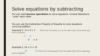 Solve Equations by Adding/Subtracting