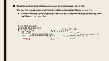 Solve Equations by Multiplying/Dividing