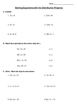 Solve Equations using the Distributive Property