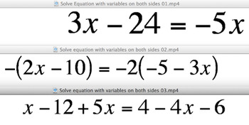 Solve Equations - variables on both sides - instructional videos