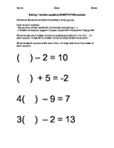 Solve Equations with Substitution Activity
