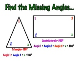 Solve For The Missing Angles of a Triangle and Quadrilateral Poster