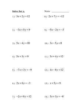 Solve For Y Slope Intercept Form By Betty Watson Tpt