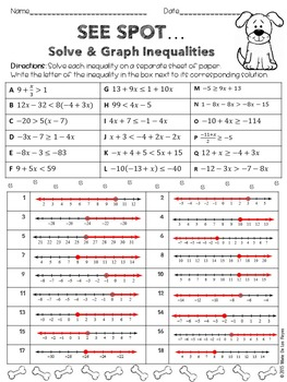 Solving and Graphing Inequalities Practice Worksheet by Algebra Accents