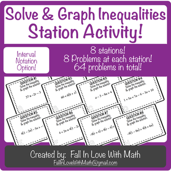 Solve & Graph Inequalities Station Activity! (with Interval Notation Option)