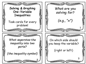 Solve & Graph One-Variable Inequalities Booklet of Steps