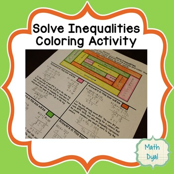Solving Inequalities Coloring Activity Teaching Resources Teachers