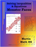 Solve Inequalities & Equations Monster Face