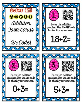 Solve It! April Addition Task Cards with QR Codes