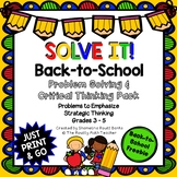 Solve It! Back-to-School Math and Problem Solving Activities Pack