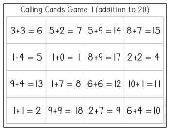 Solve It Bingo: Addition to 20