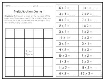 Solve It Bingo: Multiplication Freebie