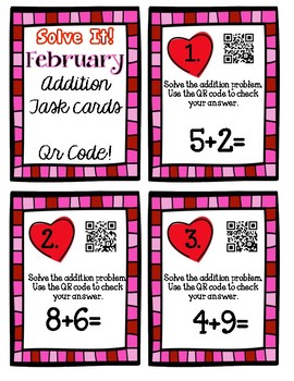Solve It! February Addition Task Cards with Qr Codes!