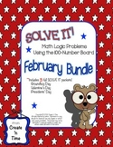 Solve It! February BUNDLE Math Logic Problems Using 100-nu