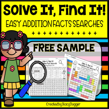 Solve It Find It Easy Addition Facts Searches - FREE Sample
