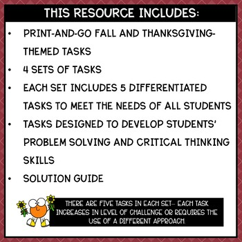 Solve It! November: Thanksgiving Math and Problem Solving Activities Pack
