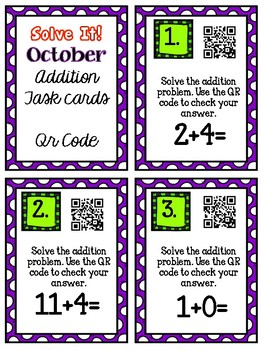Solve It! October Addition Task Cards with QR Codes