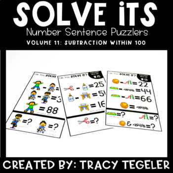 Solve Its: Number Sentence Puzzlers (Vol 11: Subtraction Within 100)