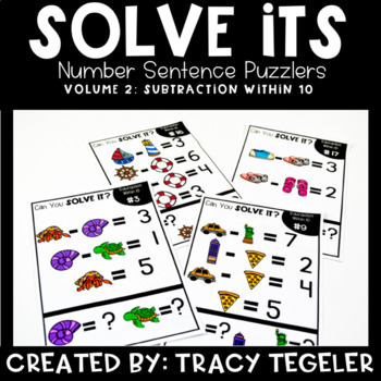Solve Its: Number Sentence Puzzlers (Vol 2: Subtraction Within 10)
