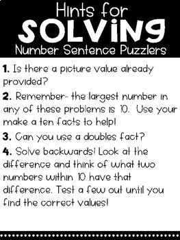 Solve Its: Number Sentence Puzzlers (Vol 3: Addition & Subtraction Within 10)