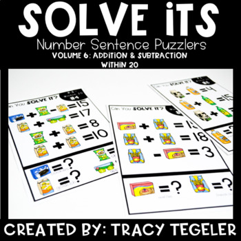 Solve Its: Number Sentence Puzzlers (Vol 6: Addition & Subtraction Within 20)