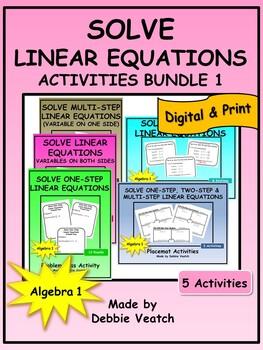 Solve Linear Equations Activities Bundle 1