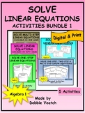 Solve Linear Equations Activities Bundle 1 | Digital - Distance Learning