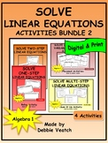 Solve Linear Equations Activities Bundle 2