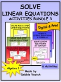 Solve Linear Equations Activities Bundle 3 | Digital - Distance Learning