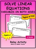 Solve Linear Equations With Variables On Both Sides Relay Activity