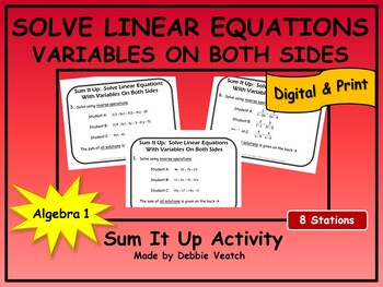 Solve Linear Equations With Variables On Both Sides Sum It Up Activity