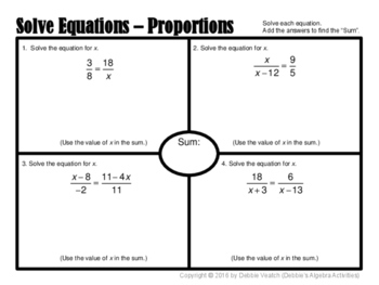 Solve Linear Equations With Variables on Both Sides & From Proportions Placemats