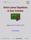 Solve Linear Equations in One Variable - 8.EE.7