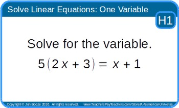 Solve Linear Equations in One Variable