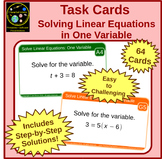 Solving Linear Equations in One Variable : Task Cards