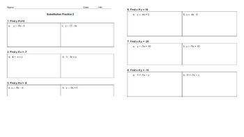 Solve Linear Equations using Substitution Practice Worksheet #2