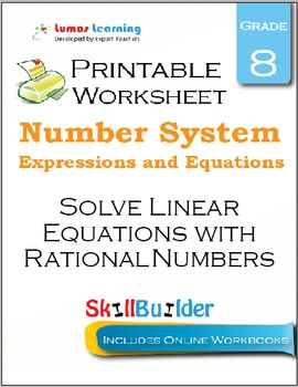 Solve Linear Equations with Rational Numbers Printable Worksheet, Grade 8