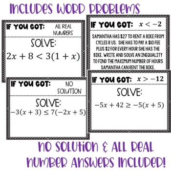 Solve Linear Inequalities Scavenger Hunt {Algebra 1}